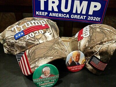 Trump 2020 Realtree Camouflage American Flag Hat With Keep America Great Button
