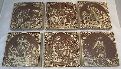 Set of 6 Antique Victorian Minton, Hollins & Co. Tiles Featuring Biblical Scenes