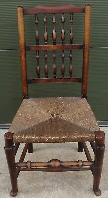 Antique Victorian Beech & Elm Rush-Seated Country Chair with Turned Spindle-Back
