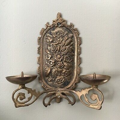 Solid Cast Brass Metal Vintage Wall Plaque Candle Sconce Federation Style Floral