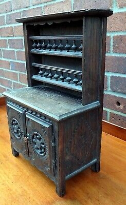 Circa 1800 antique solid decorated oak apprentice made miniature kitchen dresser