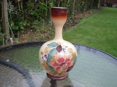 Victorian opaline glass vase, hand painted