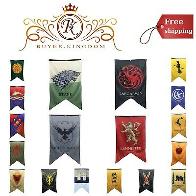 "House Sigil Wall Banner W/ Aluminum Grommets Screen Printed Polyester 30"" X 50"""