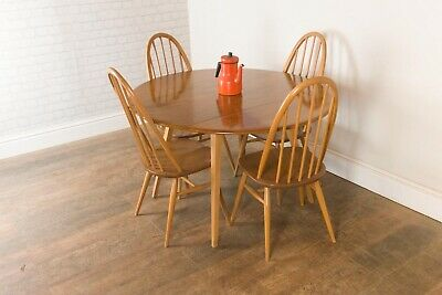 Vintage Retro Ercol Oval Drop Leaf Dining Table and 4 Quaker Chairs Light Elm