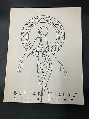 Vtg Restaurant Menu BUTTERFIELD'S Los Angeles Southern California Hollywood