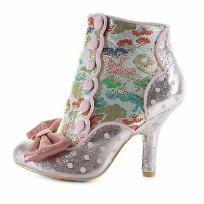 Irregular Choice Golden Years (F) Pink High Heel Stiletto Bow Shoes Ankle Boots