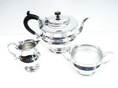 Silver Teaset Tea Set Service, STERLING, Tea Pot Teapot, Sugar, Cream, HM 1927