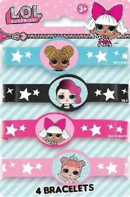 LOL Surprise Doll Stretch Bracelets Pack Of 4 Silicone Party Favours