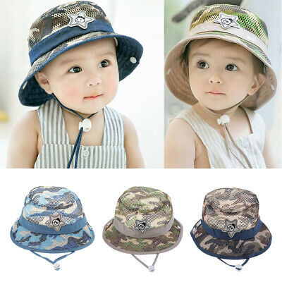 821bce397458c Baby Toddler Mesh Camo Boonie Fishing Bucket Sun Hat Summer Cap with Chin  Strap