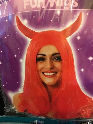 Long Red Devil Wig With Horns Attached