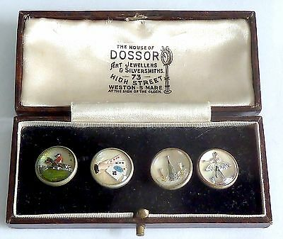 A Pair Of Edwardian Essex Crystal? Four Vices Chain Link Cufflinks, Box Included