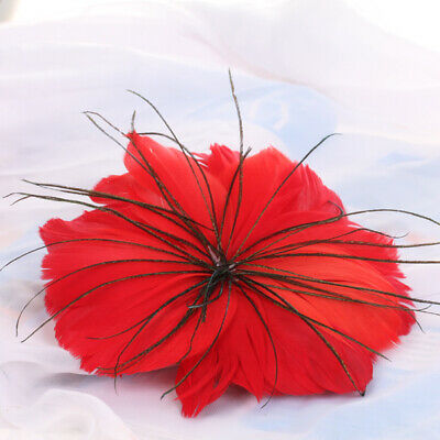 Red Feather Flower Brooch Pin Hair Clip Bridal Party Headdress Millinery Decor