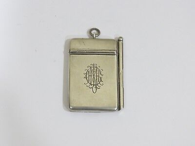Antique 1901 William Neale  Sterling Silver Pencil & Note Pad, Chester, England