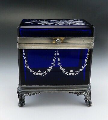 American Victorian Cobalt Blue Glass & Silverplate Impasto Enameled Dresser Box