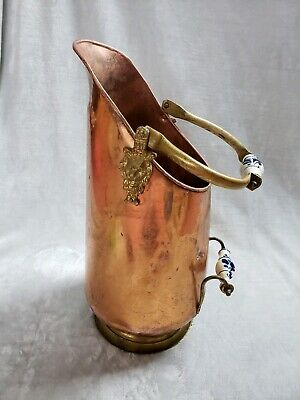 """Vintage French Copper Brass Handles Umbrella Stand Cane Stand Jug Pitcher 19"""""""