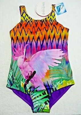BNWT Girls M&S Pretty Purple/Pink/Green Swimming Costume Swimsuit With Lycra