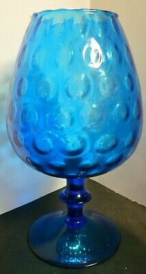 Vintage Scalloped Rim Cobalt Blue Ringed Glass Pedestal Compote / Vase Excellent