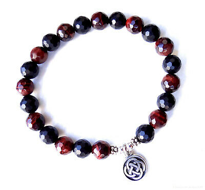 Red tiger eye and onyx faceted bracelet w/ silver Celtic knot