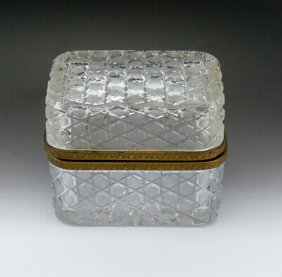 Heavy American Victorian ABP Cut Glass & Brass Dresser Box
