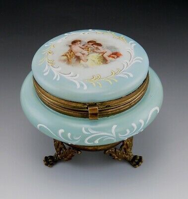 Antique European Glass & Brass Dresser Box Cherub Decoration w/Enamel Flourishes