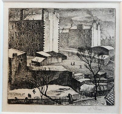 Edinburgh. Etching by listed Scottish artist William Wilson RSA, 1935