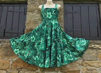 2462aa77 ZARA Woman Floral Green Occasion Party 1950's Dress Size S UK 8 Full Skirt