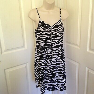 99f013466550 H&M DIVIDED Womens Black White Zebra Print Zip Front Short Mini Dress Sz 10  NEW