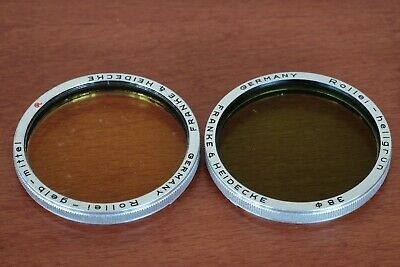 Rollei Rolleiflex yellow and green filters 38 bay III for Planar 2.8 Used