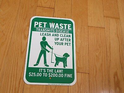 Pet Waste Dog Metal Leash & Clean Up After Your Pet Law Fine (K957)
