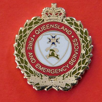 Qld Fire & Emergency Services Lapel Badge  Enamel & Gold Plated Social Item Only