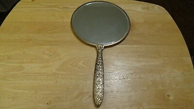 Vintage Dressing Table Mirror With Handle & Lace Floral Back.made In England