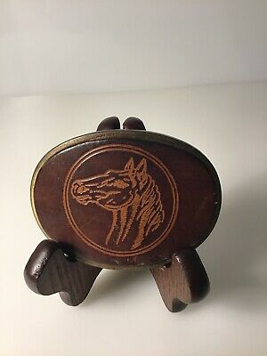 Vintage Leather Brass Horse Cowboy Belt Buckle Made In USA