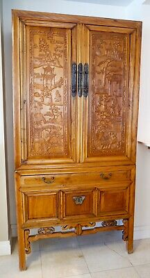 Chinese Elmwood Handcrafted Cabinet c 1840-1860