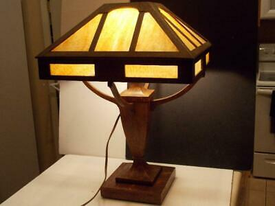 STICKLEY Era ARTS & CRAFTS Slag Glass TABLE LAMP MISSION OAK CRAFSTMAN Wood Slag
