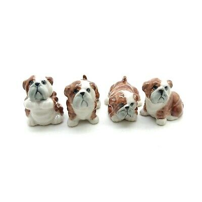 4 Bulldog Dog Ceramic Figurine Miniature Animal Baby Statue - CDG093