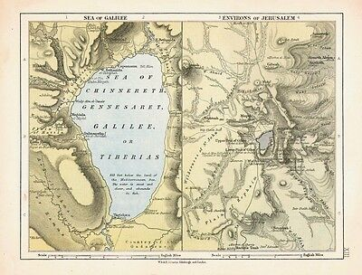1878 VICTORIAN MAP ~ SEA of GALILEE ~ ENVIRONS of JERUSALEM