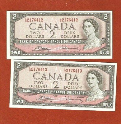 2 1954 Consecutive Serial Number Two Dollar Bank Notes Beautiful Notes E444