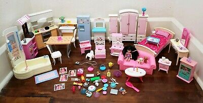 Barbie Furniture Lot Kitchen Bedroom Bathroom Livingroom Food