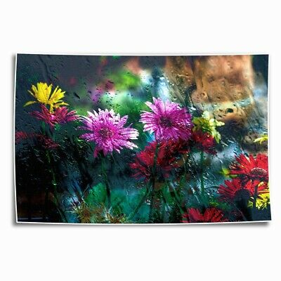 Flowers Behind Glass HD Canvas Print Painting Home Decor room Wall Art Picture