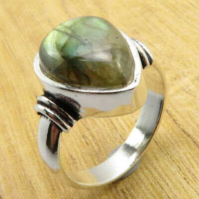 8.75 Size, Ring ! OLD STYLE Real Labradorite Silver Plated Jewelry ONLINE STORE