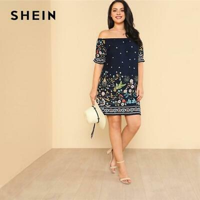 a1f5b7ffbc SHEIN Navy Plus Size Botanical Print Off Shoulder Cotton Dress Women 2019  Summer