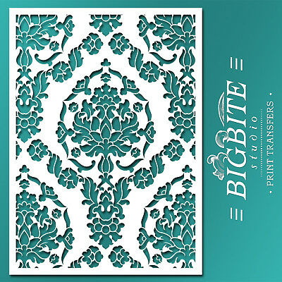 Shabby Chic STENCIL: Damask Wallpaper Pattern (Furniture Print Transfer) #056
