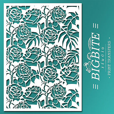 Shabby Chic STENCIL: Wild Roses Floral Pattern (Furniture Print Transfer) #046