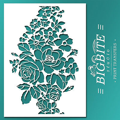 Shabby Chic STENCIL: Wild Flowers Bouquet Ornament (DIY Furniture Print) #047