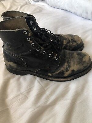 Distressed Leather Boots Biker Rocker Motorcycle Vintage Redwing Military