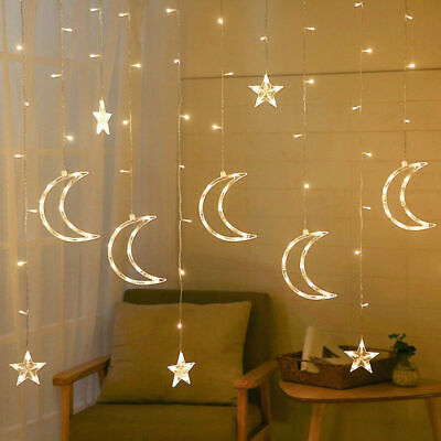 Plug In LED Moon Star Curtain Lights Fairy String Shop Window Display Room Xmas