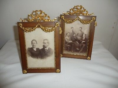 Pair Antique Elegant French Bronze Ormolu Gilt Picture Frames Easel And Ring