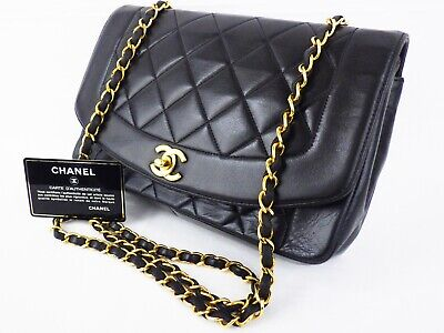 ca588843b803 100%Auth CHANEL Vintage Diana Flap Bag Chain Shoulder Quilted Medium Classic