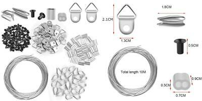 WXJ13 Picture Frame Hanging Kit, Stainless Steel Wire, Hooks, Nails, and...