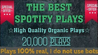20.000 Spotify Plays (100% Organic) FROM UK (THE BEST PAID ROYALTIES)